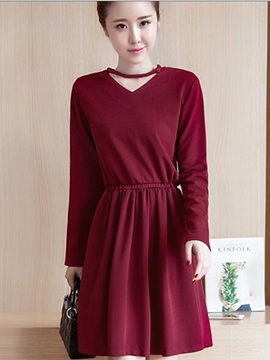 Ericdress V-Neck Button Pleated Casual Dress