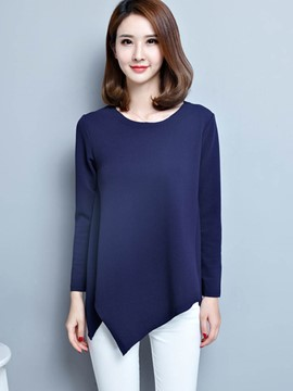 Ericdress Oblique Trim Plain T-Shirt