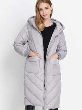 Ericdress Solid Color Straight Cotton Coat