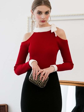 Ericdress Color Block Slim Bowknot Off-Shoulder Knitwear