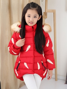 Ericdress Feather Print Asym Girls Down Coat