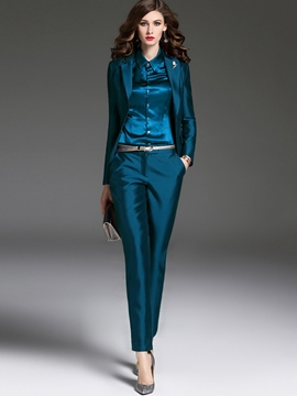 Ericdress Solid Color One Button Pencil Pants Formal Suit