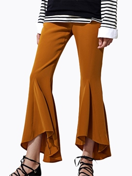 Ericdress Solid Color Pleated Flared Pants