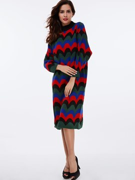 Ericdress Wave Cut Knitting Patchwork Sweater Dress