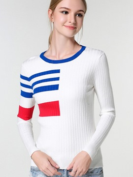 Ericdress Color Block Simple Pullover Knitwear