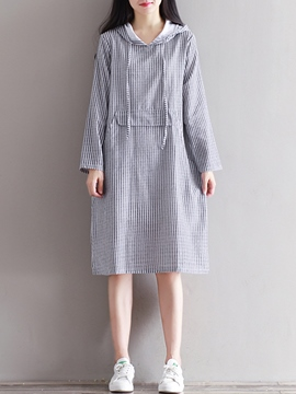 Ericdress Hooded Strip Patchwork Loose Casual Dress