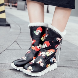 Ericdress Cartoon Print Snow Boots