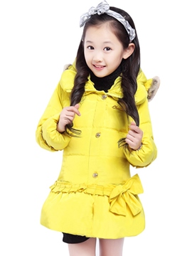Ericdress Bow Turtleneck Girls' Puffer Coat