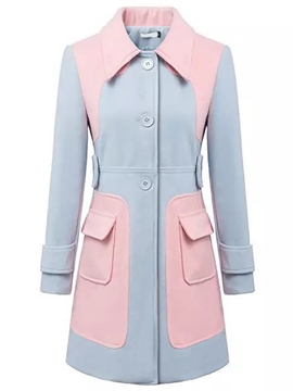 Ericdress Color Block Slim Sing-Breasted Coat
