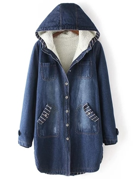 Ericdress Loose Solid Color Fleece Denim Outerwear
