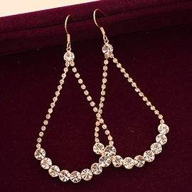 Ericdress Water Droplets Diamante Pendant Earrings