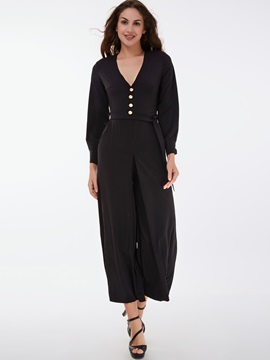 Ericdress Bead Lace-Up Wide Legs Loose Jumpsuits Pants