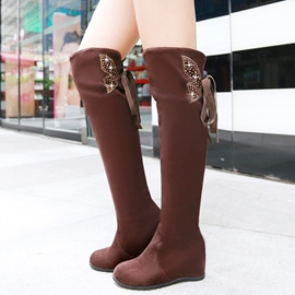 Ericdress Rhinestone Back Lace up Thigh High Boots