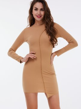 Ericdress Cowl-Neck Stylelines Asymmetric Bodycon Dress