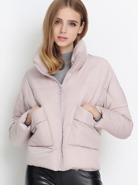 Ericdress Solid Color Stand Collar Loose Coat