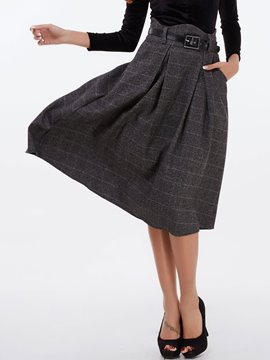 Ericdress Pleated A-Line Plaid Skirt