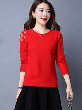 Ericdress Solid Color Lace Patchwork Casual Knitwear
