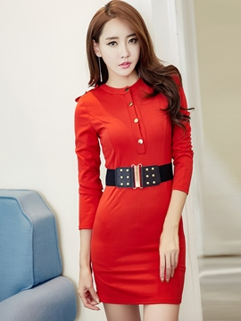 Ericdress Button Belt Above Knee Sheath Dress