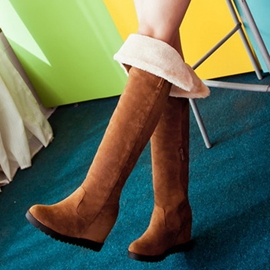 Ericdress Suede Elevator Heel Thigh High Boots