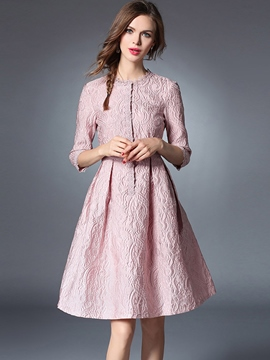 Ericdress Lace-Trim Patchwork Pleated Casual Dress