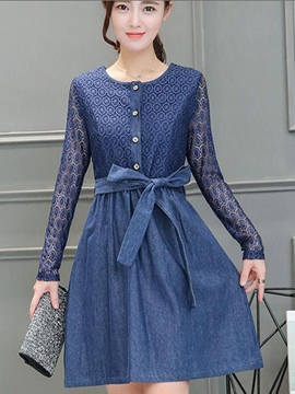 Ericdress Lace Patchwork Button Belt Pleated Casual Dress