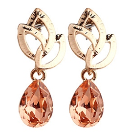 Ericdress Champagne Crystal Leaf Pendant Earrings