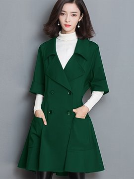 Ericdress Solid Color Slim Plus Size Trench Coat