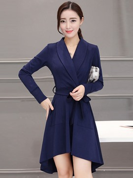 Ericdress Notched Lapel Belt Pleated Casual Dress