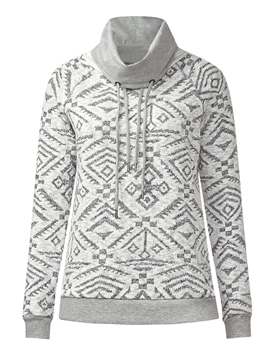 Ericdress Loose Geometric Turtleneck Hoodie