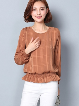 Ericdress Solid Color Pelplum Long Sleeve Blouse