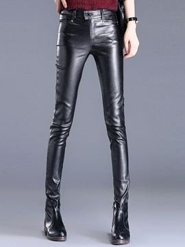 Ericdress PU Solid Color Slim Leggings Pants