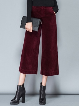 Ericdress Solid Color High-Rise Wide Legs Pants