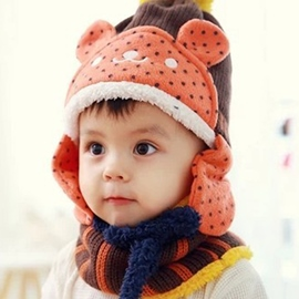 Ericdress Lovely Bear Design Thicken Kid's Hat & Neck Warmer