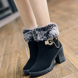 Ericdress Pretty Buckles&furry Ankle Boots