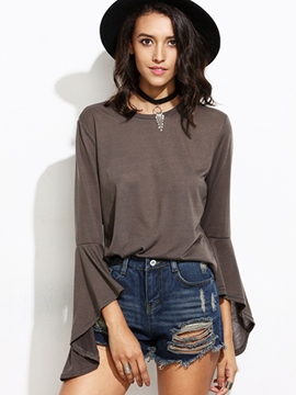 Ericdress Coffee Flare Sleeve T-Shirt