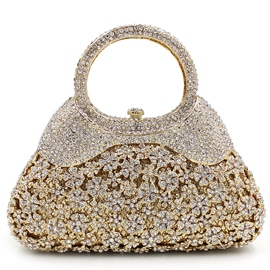 Ericdress Golden Hollow Diamante Evening Clutch