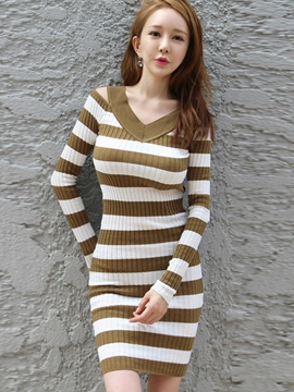 Ericdress V-Neck Strip Off-The-Shoulder Sweater Dress