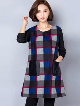 Ericdress Plaid Fabric Patchwork Pocket Casual Dress