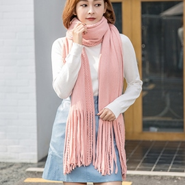 Ericdress Long Tassels Solid Color Knitted Scarf
