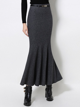 Ericdress Solid Color Mermaid Maxi Skirt