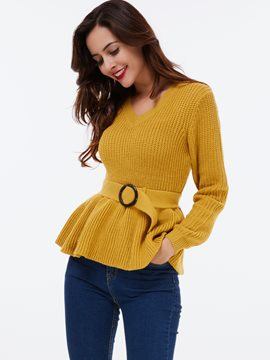 Ericdress Yellow Belt Knitwear