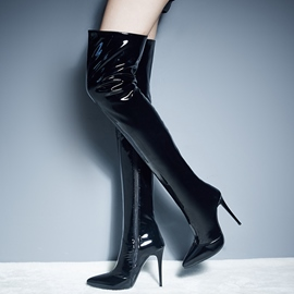 Ericdress Patent Leather Point Toe Thigh High Boots