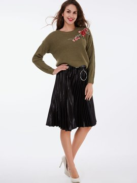 Ericdress Simple PU Pleated Skirt Leisure Suit