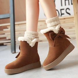 Ericdress Lovely Bowtie Short Floss Snow Boots