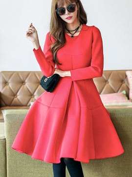 Ericdress Round Collar Stylelines Patchwork Pleated Casual Dress