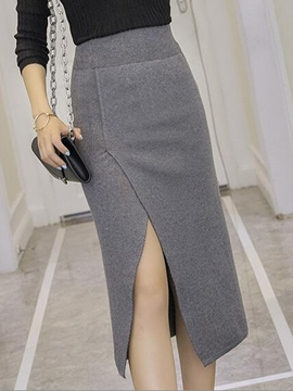 Ericdress Solid Color Asymmetric High-Waist Column Skirt