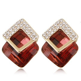Ericdress Geometric Gemstone Stud Earrings