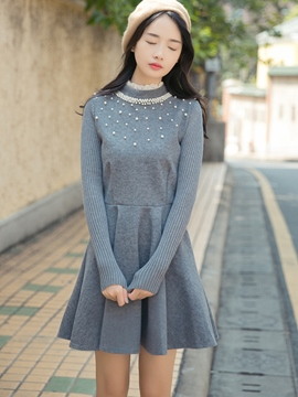 Ericdress Lace Patchwork Turtleneck Pleated Casual Dress
