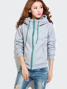Ericdress Color Block Zipper Lace-Up Hoodie