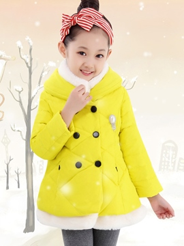 Ericdress Double-Breasted Turtleneck Girls' Puffer Coat